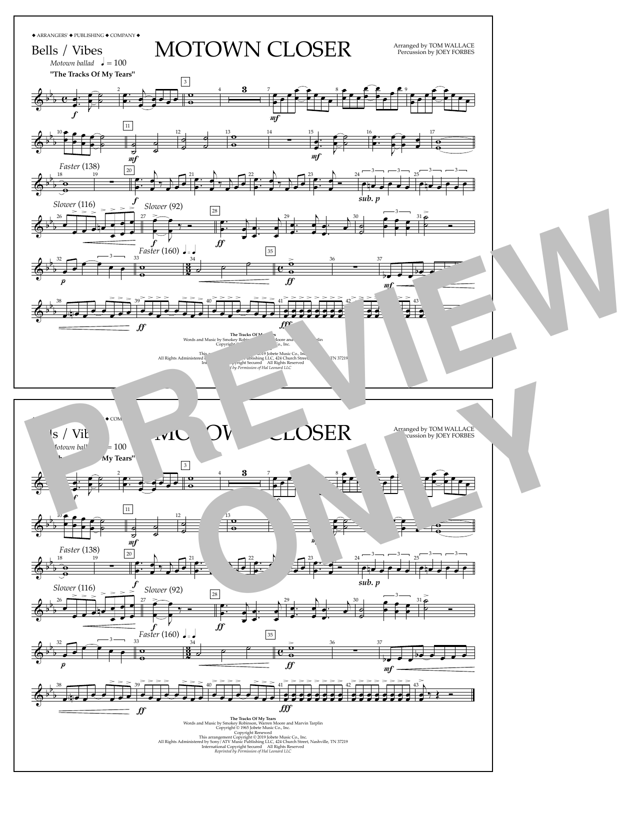 Smokey Robinson Motown Closer (arr. Tom Wallace) - Bells/Vibes sheet music notes and chords. Download Printable PDF.