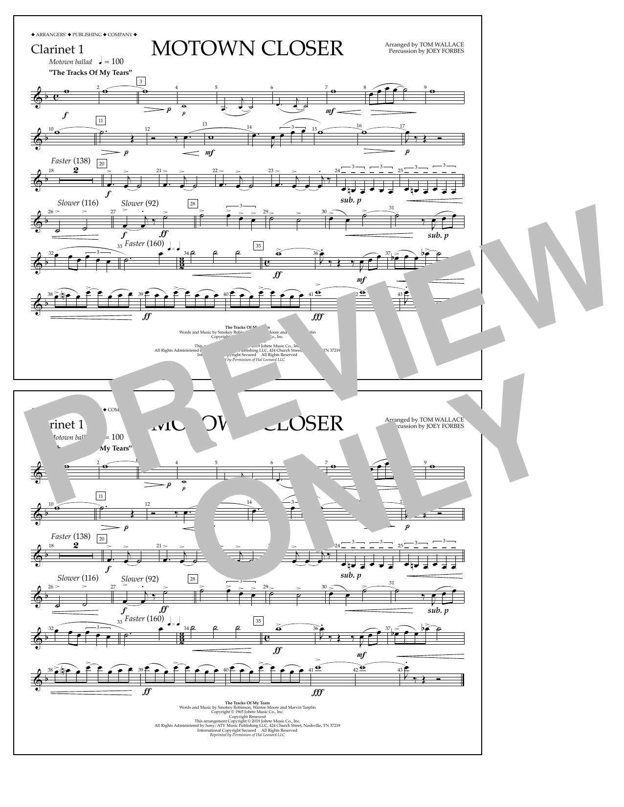 Smokey Robinson Motown Closer (arr. Tom Wallace) - Clarinet 1 sheet music notes and chords. Download Printable PDF.