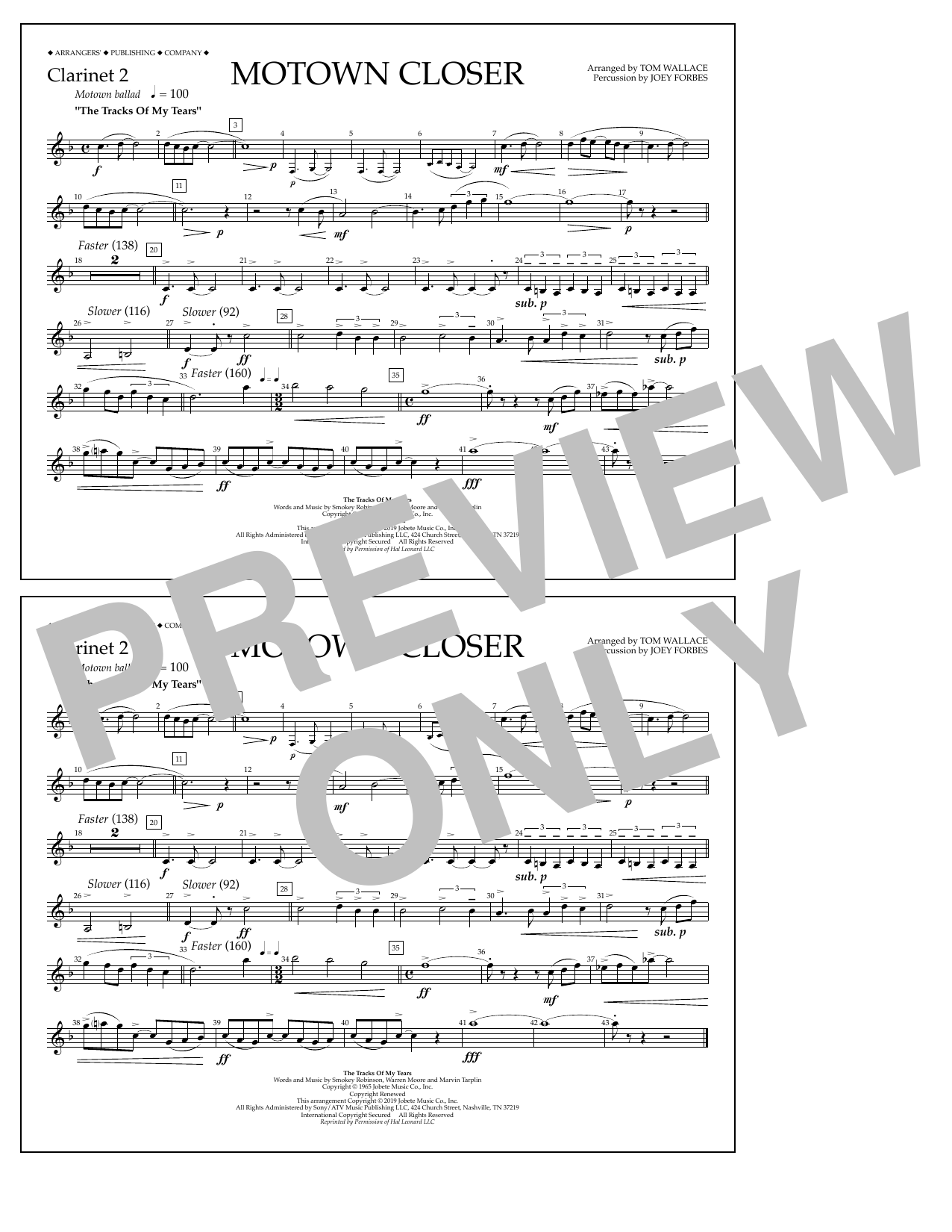 Smokey Robinson Motown Closer (arr. Tom Wallace) - Clarinet 2 sheet music notes and chords. Download Printable PDF.