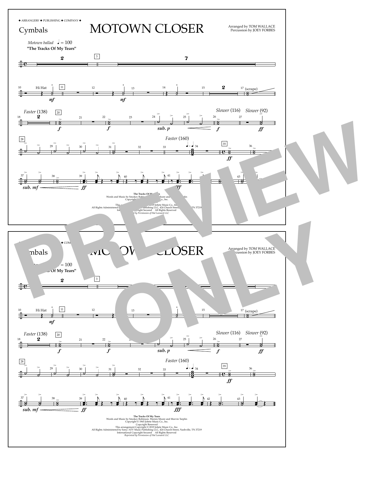 Smokey Robinson Motown Closer (arr. Tom Wallace) - Cymbals sheet music notes and chords. Download Printable PDF.