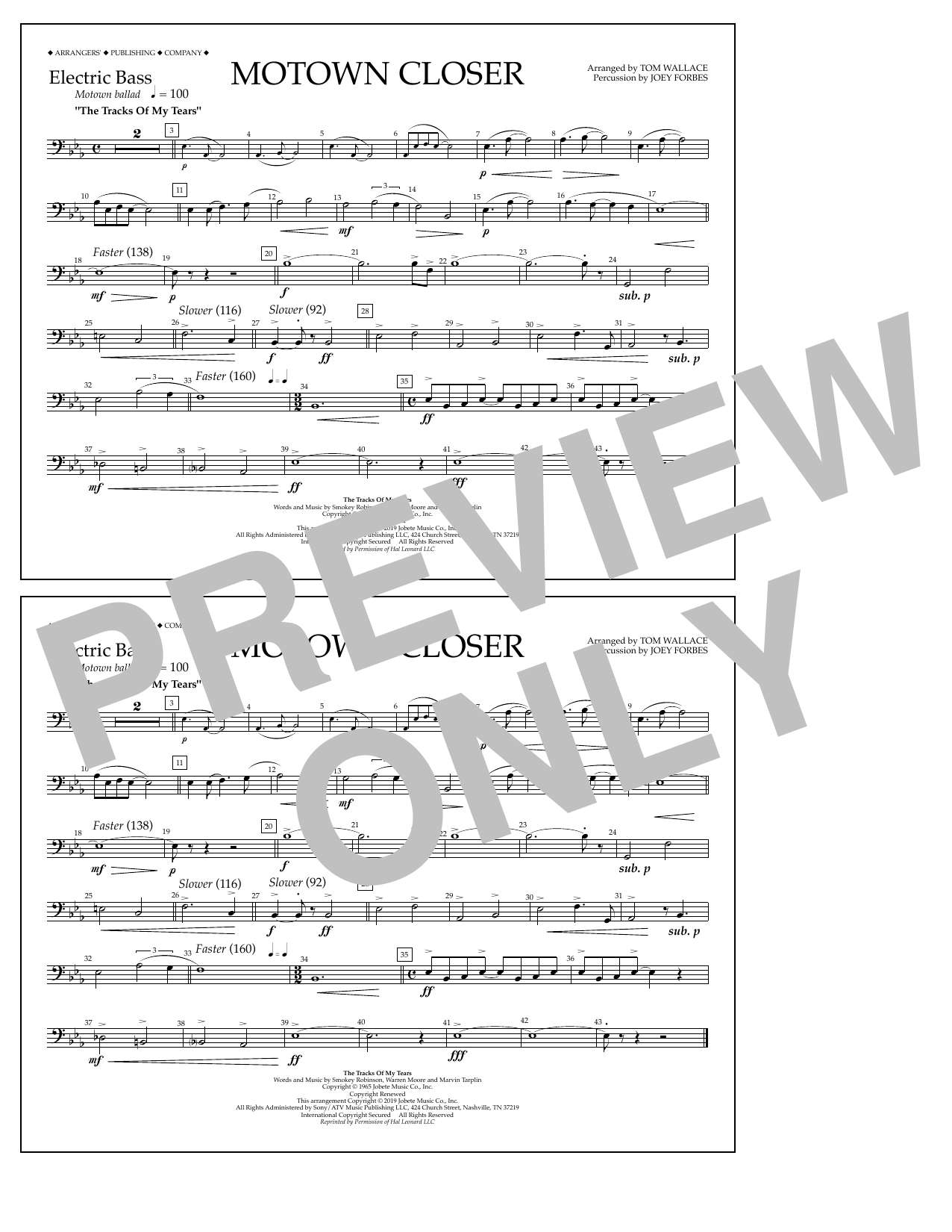 Smokey Robinson Motown Closer (arr. Tom Wallace) - Electric Bass sheet music notes and chords. Download Printable PDF.