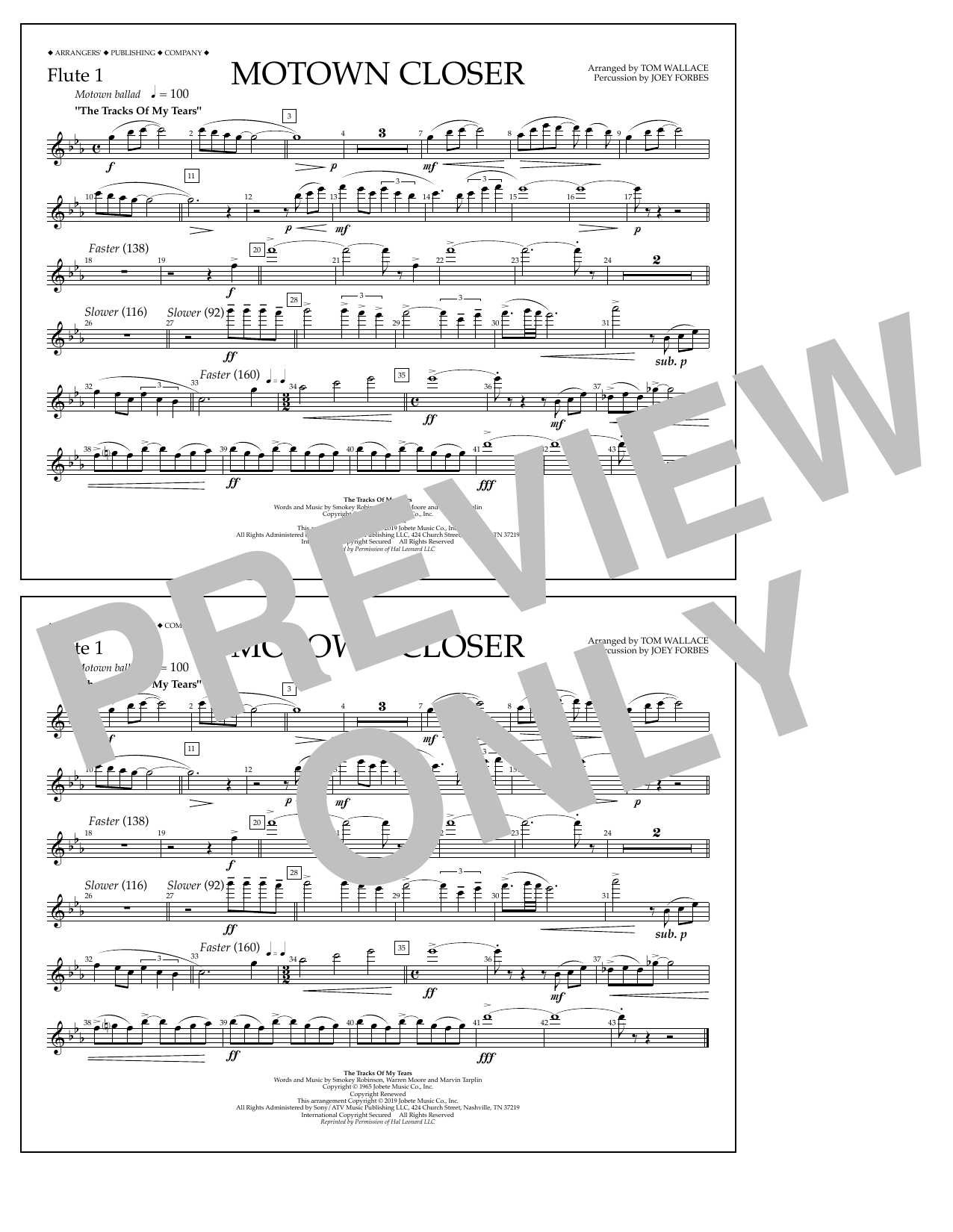 Smokey Robinson Motown Closer (arr. Tom Wallace) - Flute 1 sheet music notes and chords. Download Printable PDF.