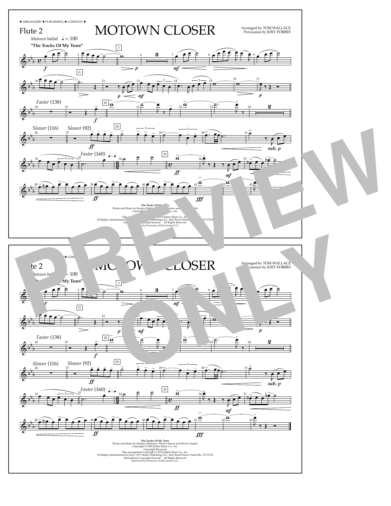 Smokey Robinson Motown Closer (arr. Tom Wallace) - Flute 2 sheet music notes and chords. Download Printable PDF.