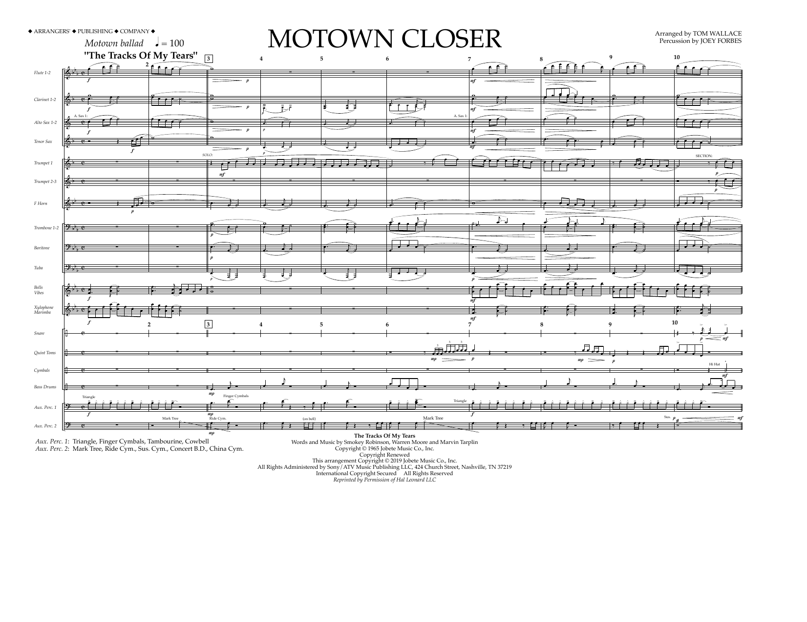 Smokey Robinson Motown Closer (arr. Tom Wallace) - Full Score sheet music notes and chords. Download Printable PDF.