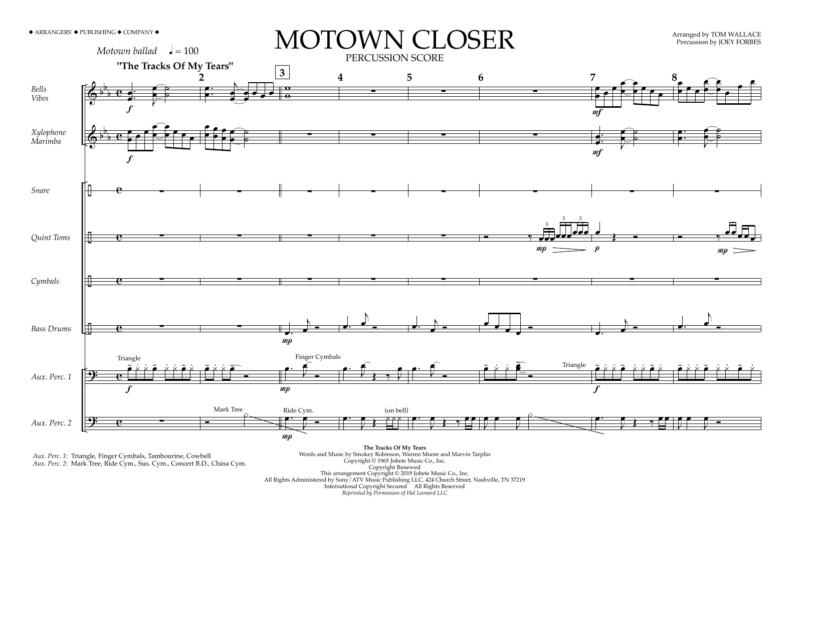 Smokey Robinson Motown Closer (arr. Tom Wallace) - Percussion Score sheet music notes and chords. Download Printable PDF.