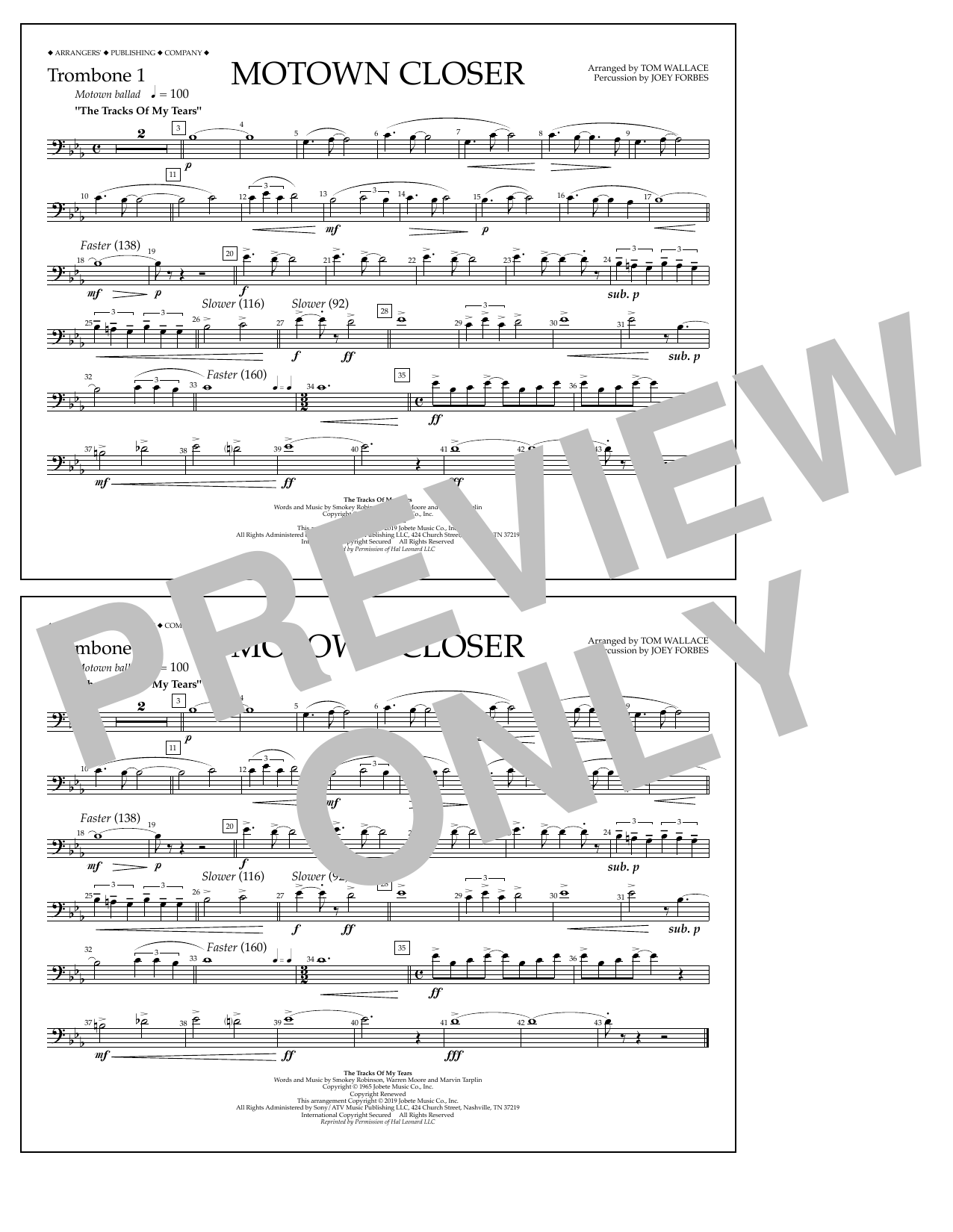 Smokey Robinson Motown Closer (arr. Tom Wallace) - Trombone 1 sheet music notes and chords. Download Printable PDF.