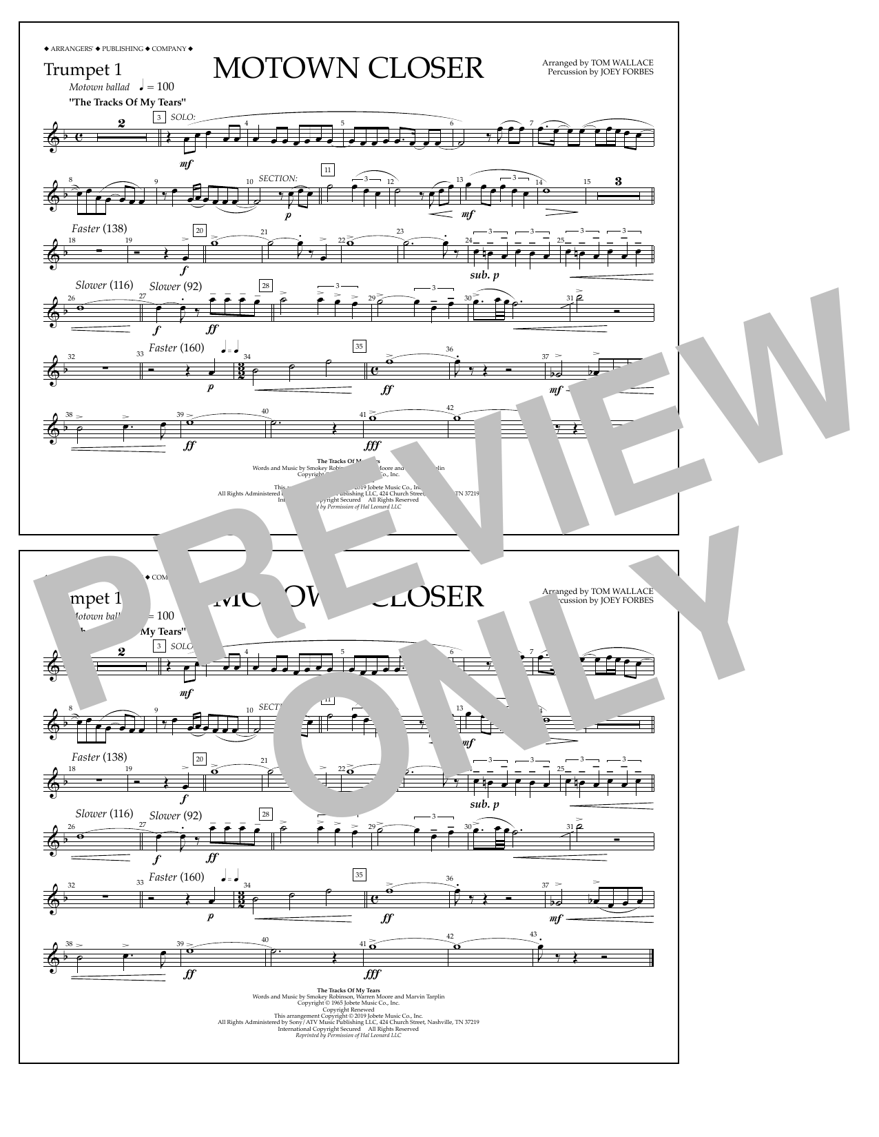 Smokey Robinson Motown Closer (arr. Tom Wallace) - Trumpet 1 sheet music notes and chords. Download Printable PDF.