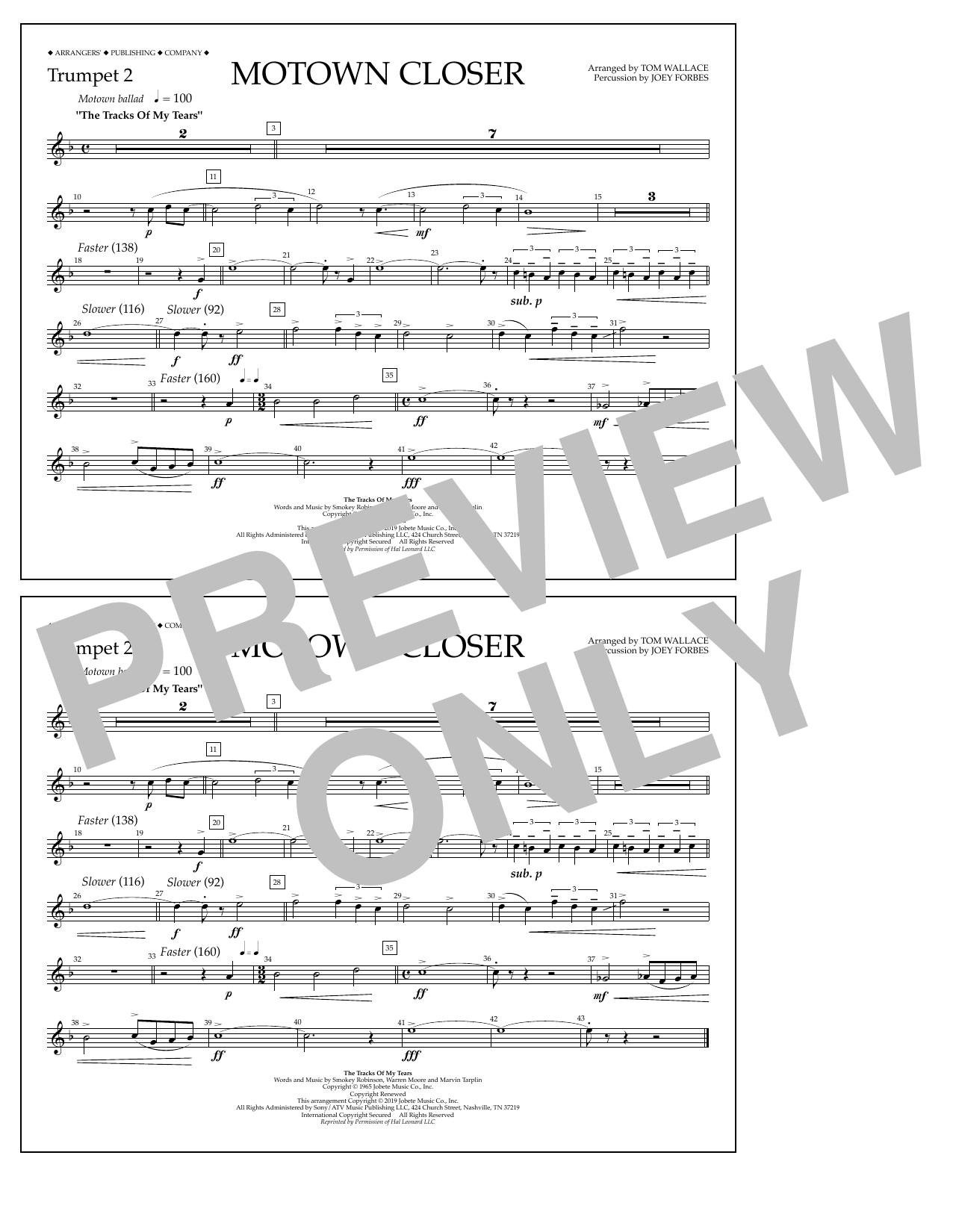 Smokey Robinson Motown Closer (arr. Tom Wallace) - Trumpet 2 sheet music notes and chords. Download Printable PDF.