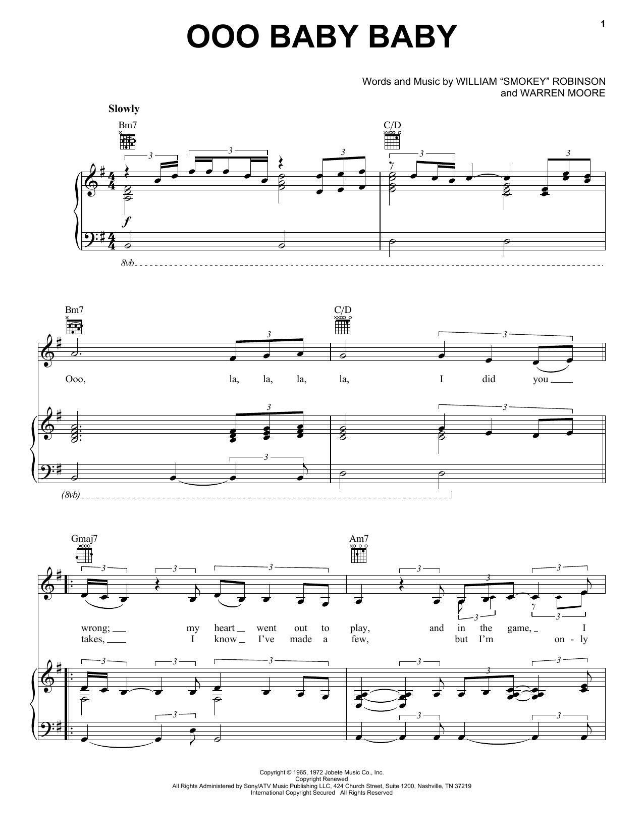 Smokey Robinson & The Miracles Ooo Baby Baby sheet music notes and chords. Download Printable PDF.