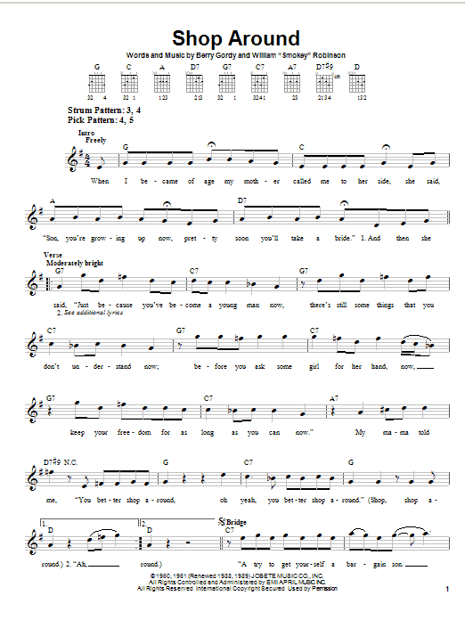 Smokey Robinson & The Miracles Shop Around sheet music notes and chords. Download Printable PDF.