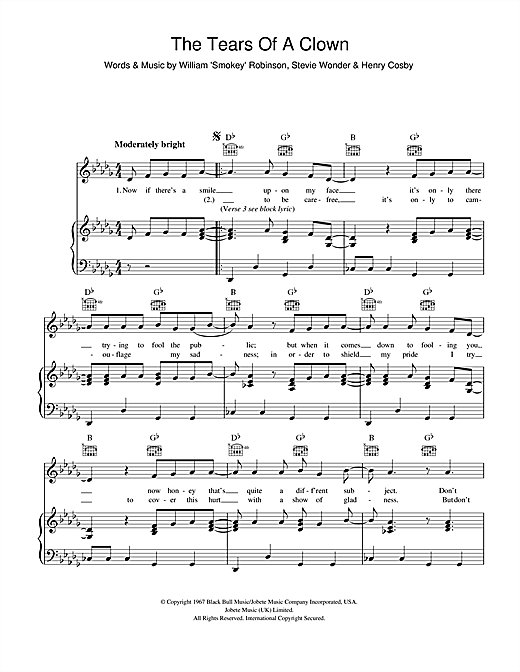 Smokey Robinson & The Miracles The Tears Of A Clown sheet music notes and chords. Download Printable PDF.