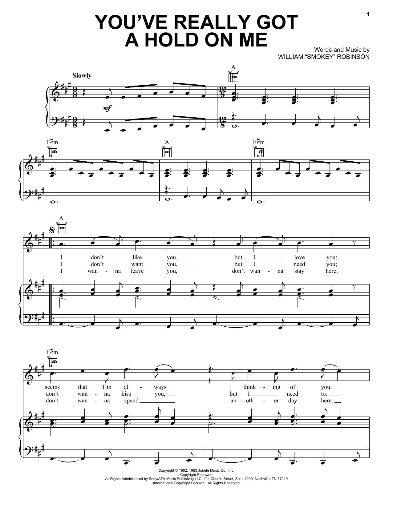 Smokey Robinson & The Miracles You've Really Got A Hold On Me sheet music notes and chords. Download Printable PDF.