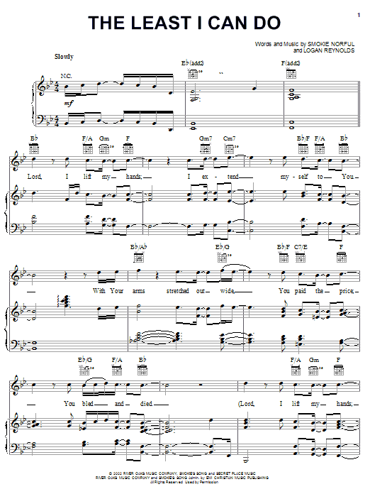 Smokie Norful The Least I Can Do sheet music notes and chords. Download Printable PDF.