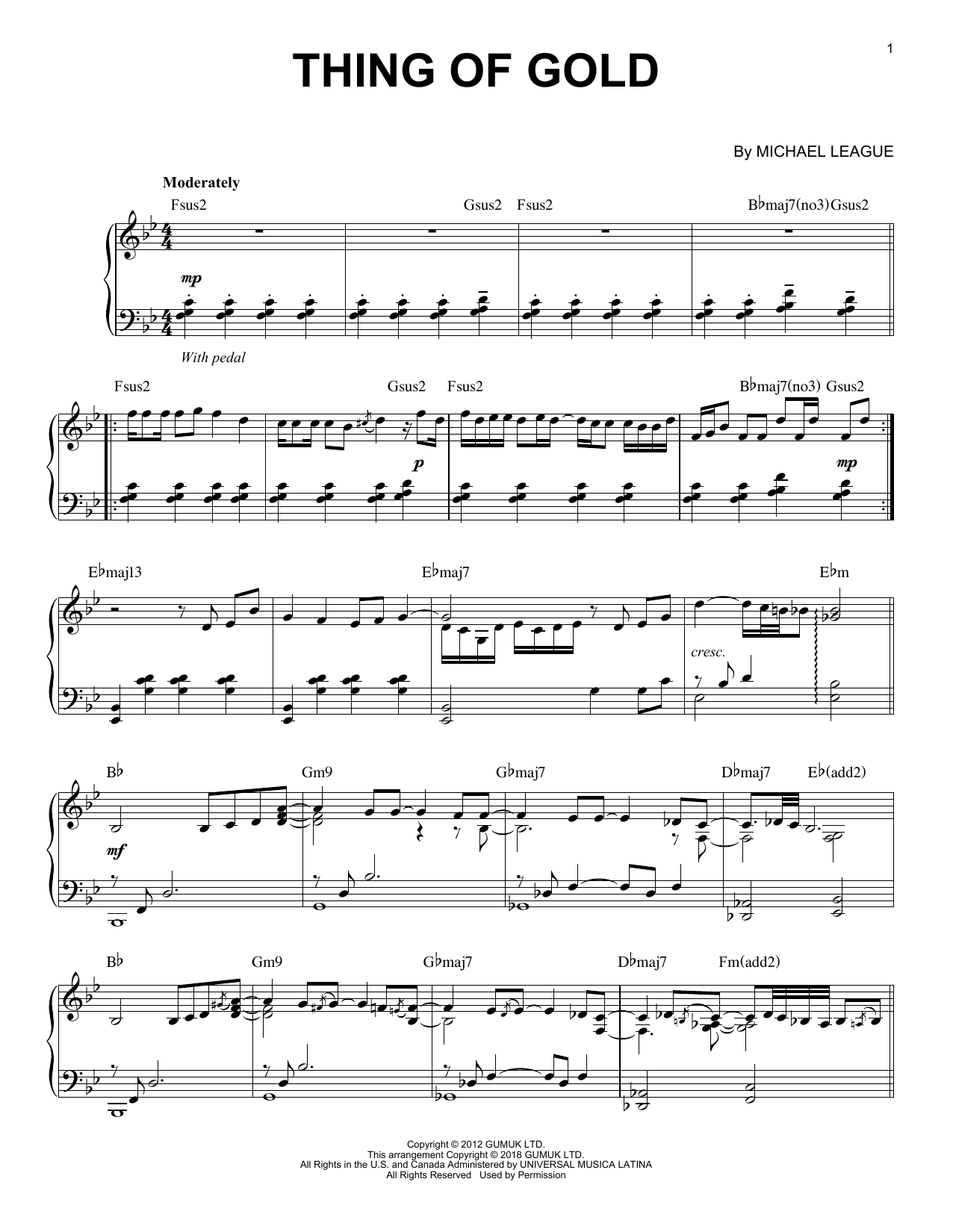 Snarky Puppy Thing Of Gold sheet music notes and chords. Download Printable PDF.