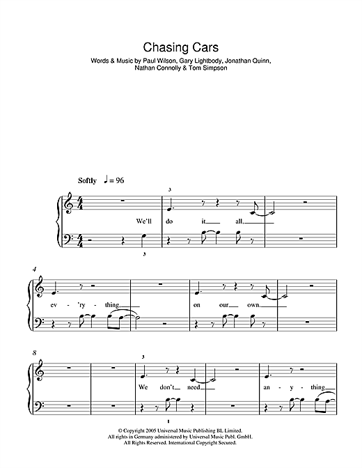 Snow Patrol Chasing Cars sheet music notes and chords. Download Printable PDF.