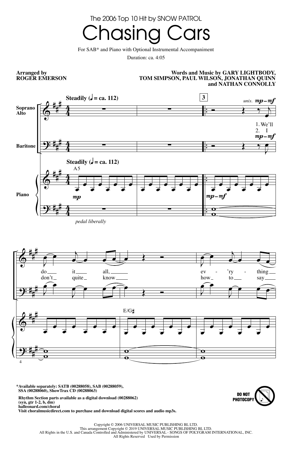 Snow Patrol Chasing Cars (arr. Roger Emerson) sheet music notes and chords. Download Printable PDF.