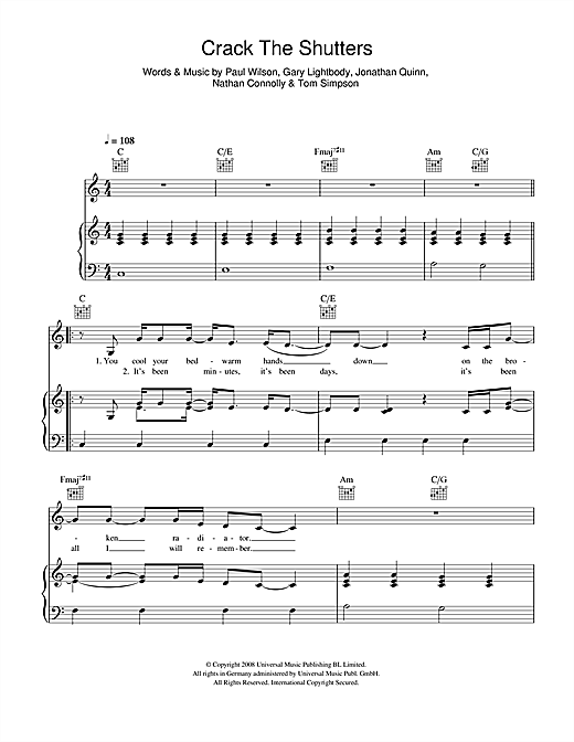 Snow Patrol Crack The Shutters sheet music notes and chords. Download Printable PDF.