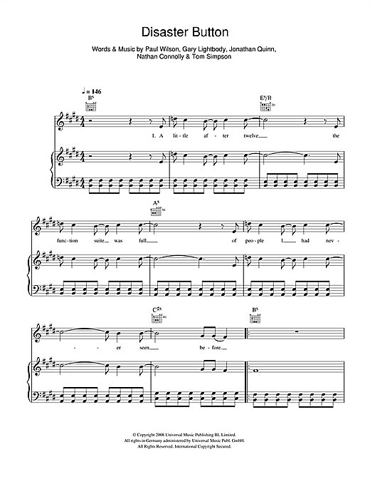 Snow Patrol Disaster Button sheet music notes and chords. Download Printable PDF.