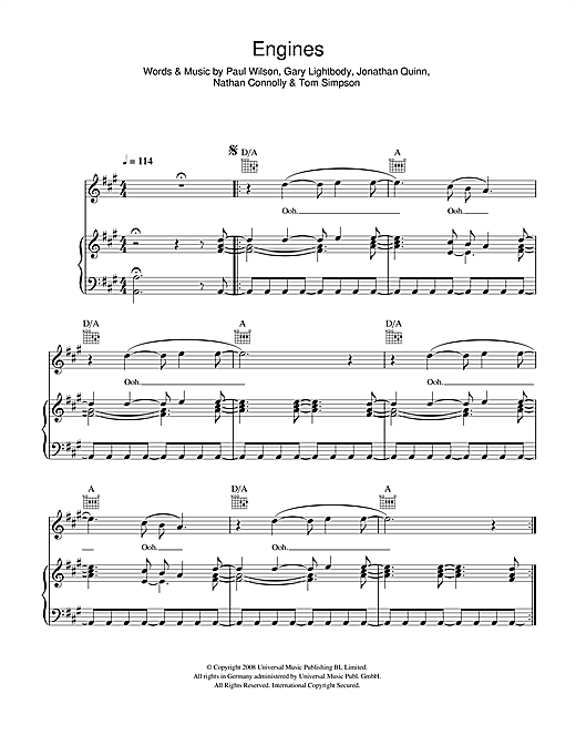 Snow Patrol Engines sheet music notes and chords. Download Printable PDF.