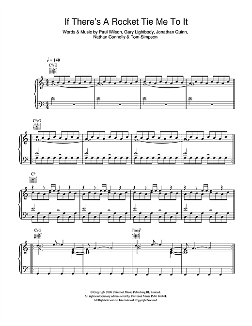 Snow Patrol If There's A Rocket Tie Me To It sheet music notes and chords. Download Printable PDF.