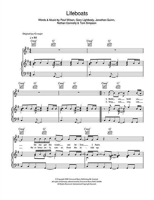 Snow Patrol Lifeboats sheet music notes and chords. Download Printable PDF.