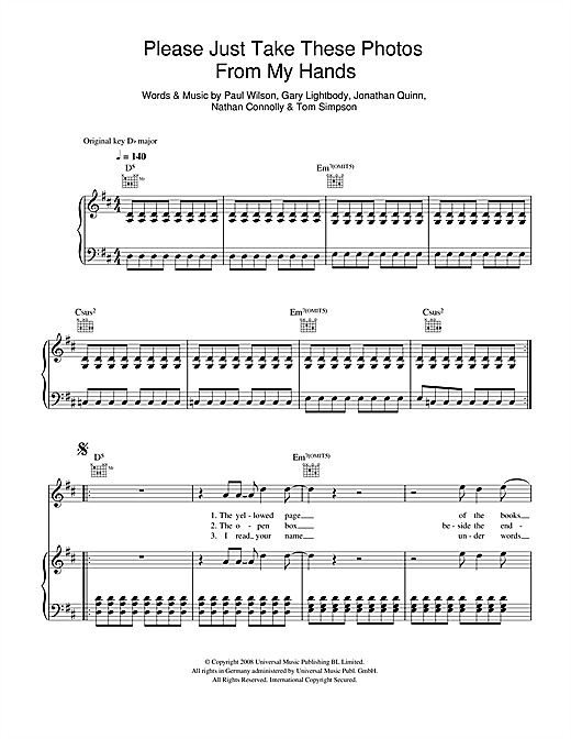 Snow Patrol Please Just Take These Photos From My Hands sheet music notes and chords. Download Printable PDF.