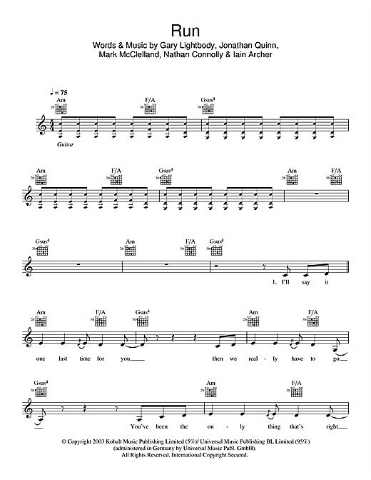 Snow Patrol Run sheet music notes and chords. Download Printable PDF.