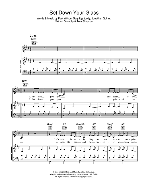 Snow Patrol Set Down Your Glass sheet music notes and chords. Download Printable PDF.