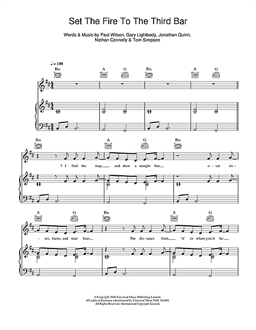 Snow Patrol Set The Fire To The Third Bar sheet music notes and chords. Download Printable PDF.