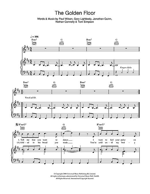 Snow Patrol The Golden Floor sheet music notes and chords. Download Printable PDF.
