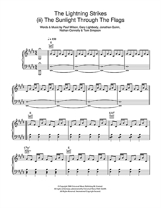 Snow Patrol The Lightning Strike (ii. The Sunlight Through The Flags) sheet music notes and chords. Download Printable PDF.