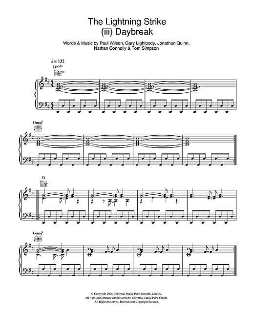 Snow Patrol The Lightning Strike (iii. Daybreak) sheet music notes and chords. Download Printable PDF.