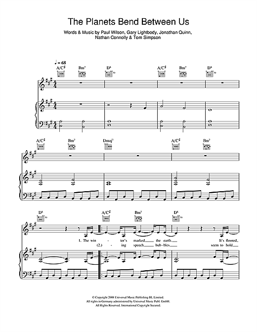 Snow Patrol The Planets Bend Between Us sheet music notes and chords. Download Printable PDF.