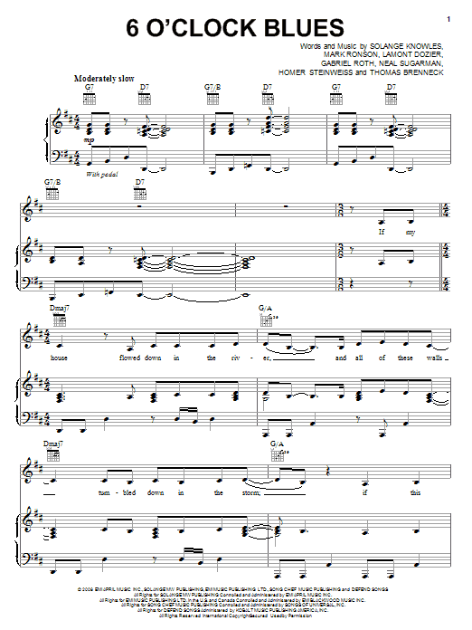 Solange 6 O'Clock Blues sheet music notes and chords