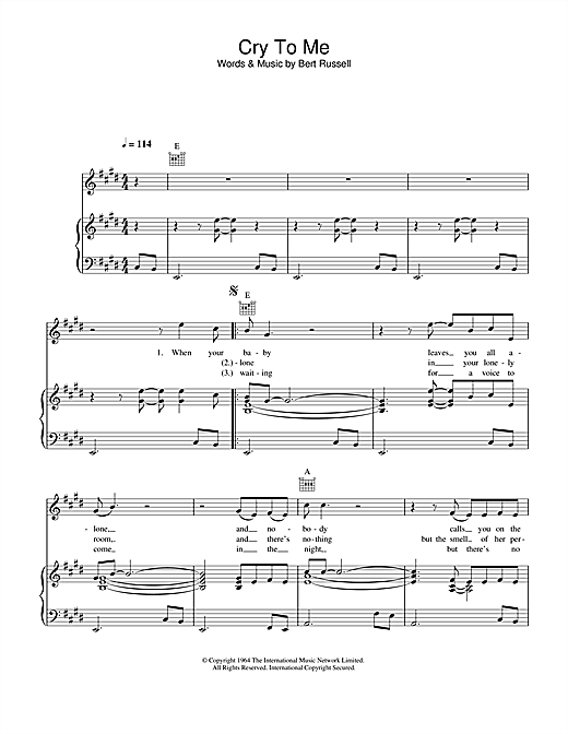 Solomon Burke Cry To Me sheet music notes and chords. Download Printable PDF.