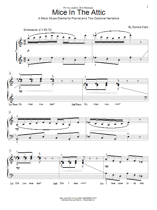 Sondra Clark Mice In The Attic sheet music notes and chords. Download Printable PDF.