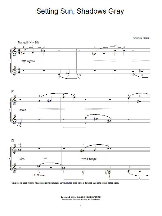 Sondra Clark Setting Sun, Shadows Gray sheet music notes and chords. Download Printable PDF.