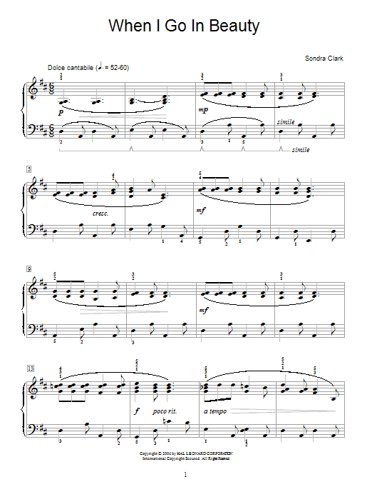 Sondra Clark When I Go In Beauty sheet music notes and chords. Download Printable PDF.