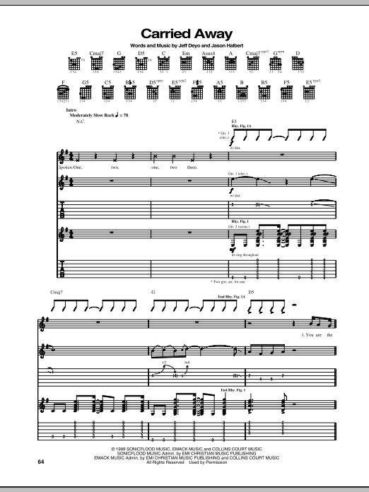 Sonicflood Carried Away sheet music notes and chords. Download Printable PDF.