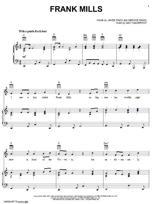 Sonja Kristina Frank Mills sheet music notes and chords. Download Printable PDF.