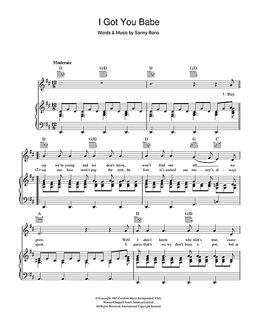 Sonny & Cher I Got You Babe sheet music notes and chords. Download Printable PDF.