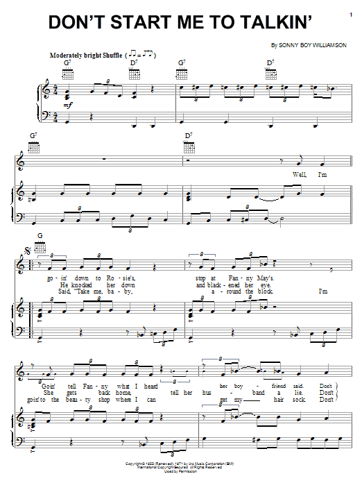 Sonny Boy Williamson Don't Start Me To Talkin' sheet music notes and chords