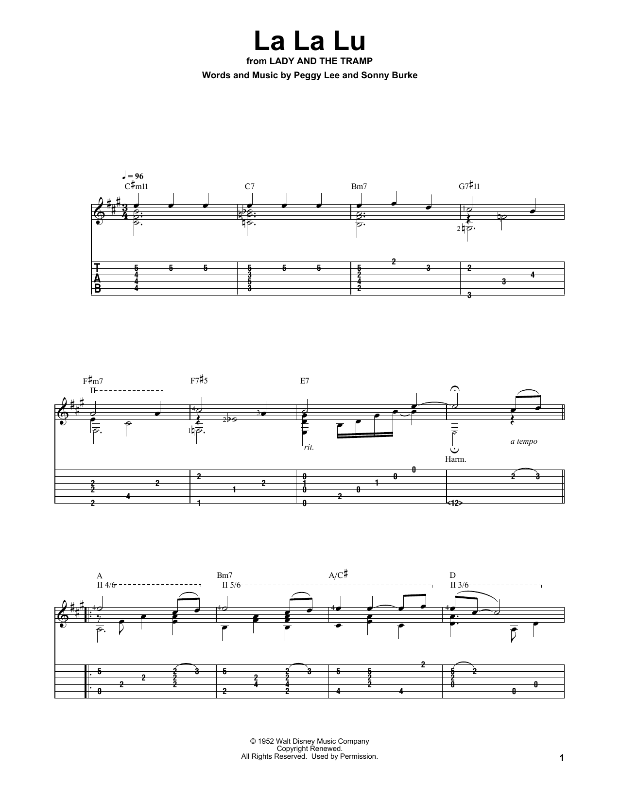 Sonny Burke La La Lu (from Lady And The Tramp) sheet music notes and chords. Download Printable PDF.