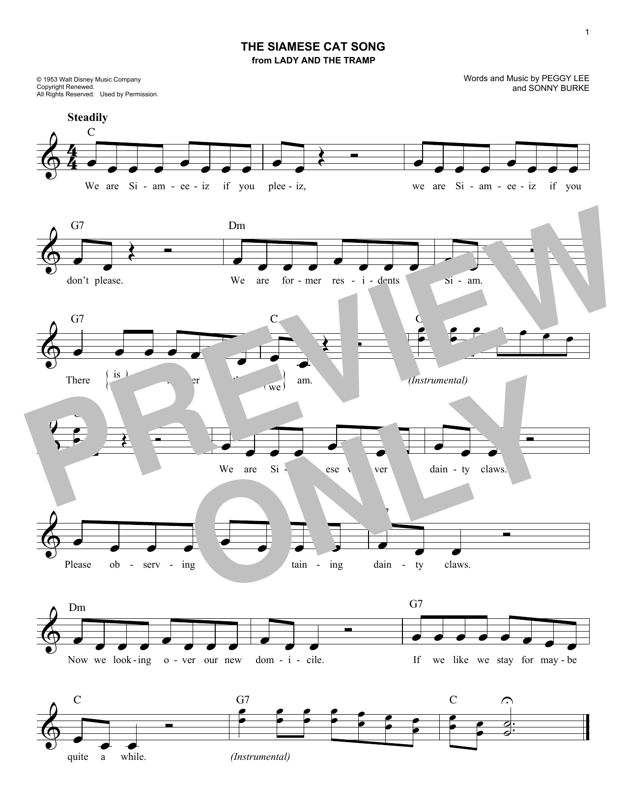 Sonny Burke The Siamese Cat Song (from Lady And The Tramp) sheet music notes and chords. Download Printable PDF.