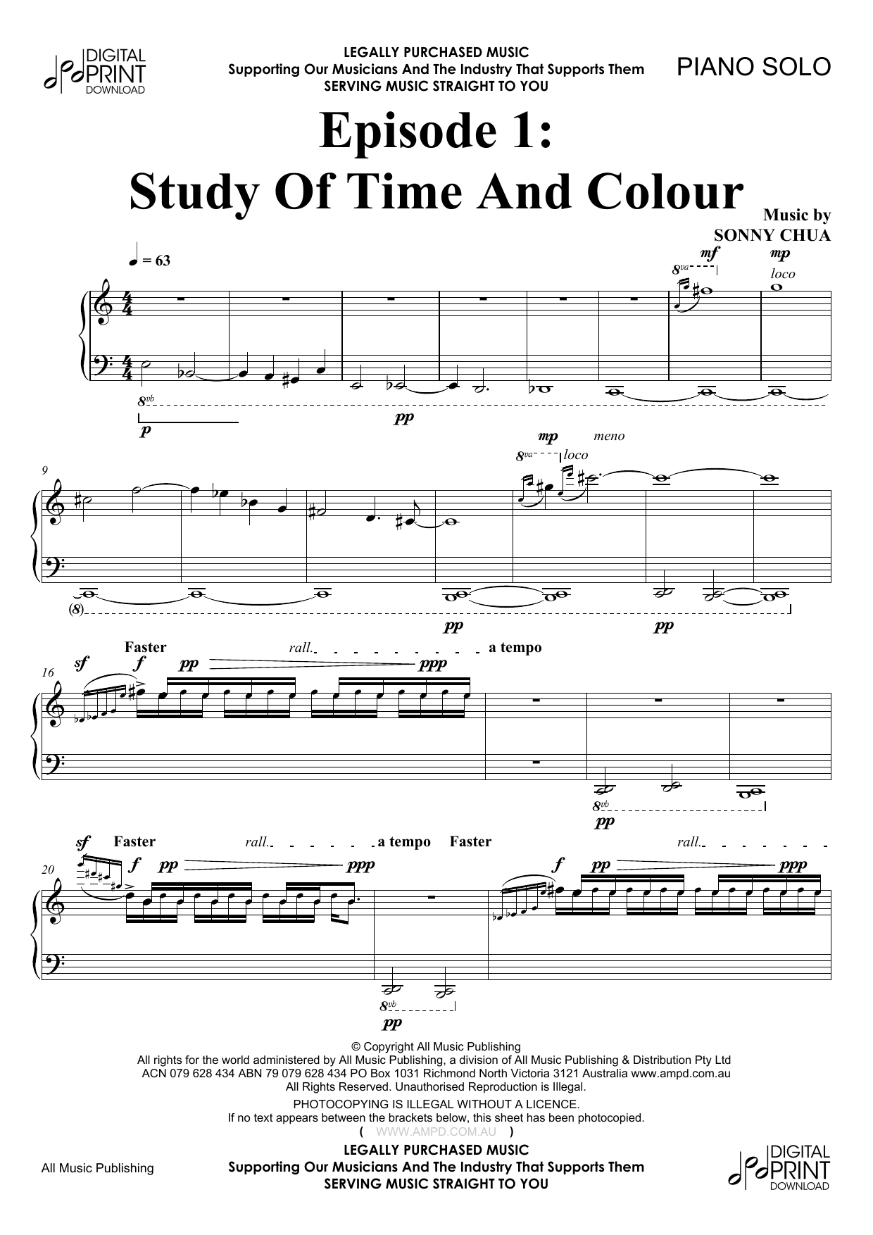 Sonny Chua Episode 1 Study Of Time And Colour sheet music notes and chords