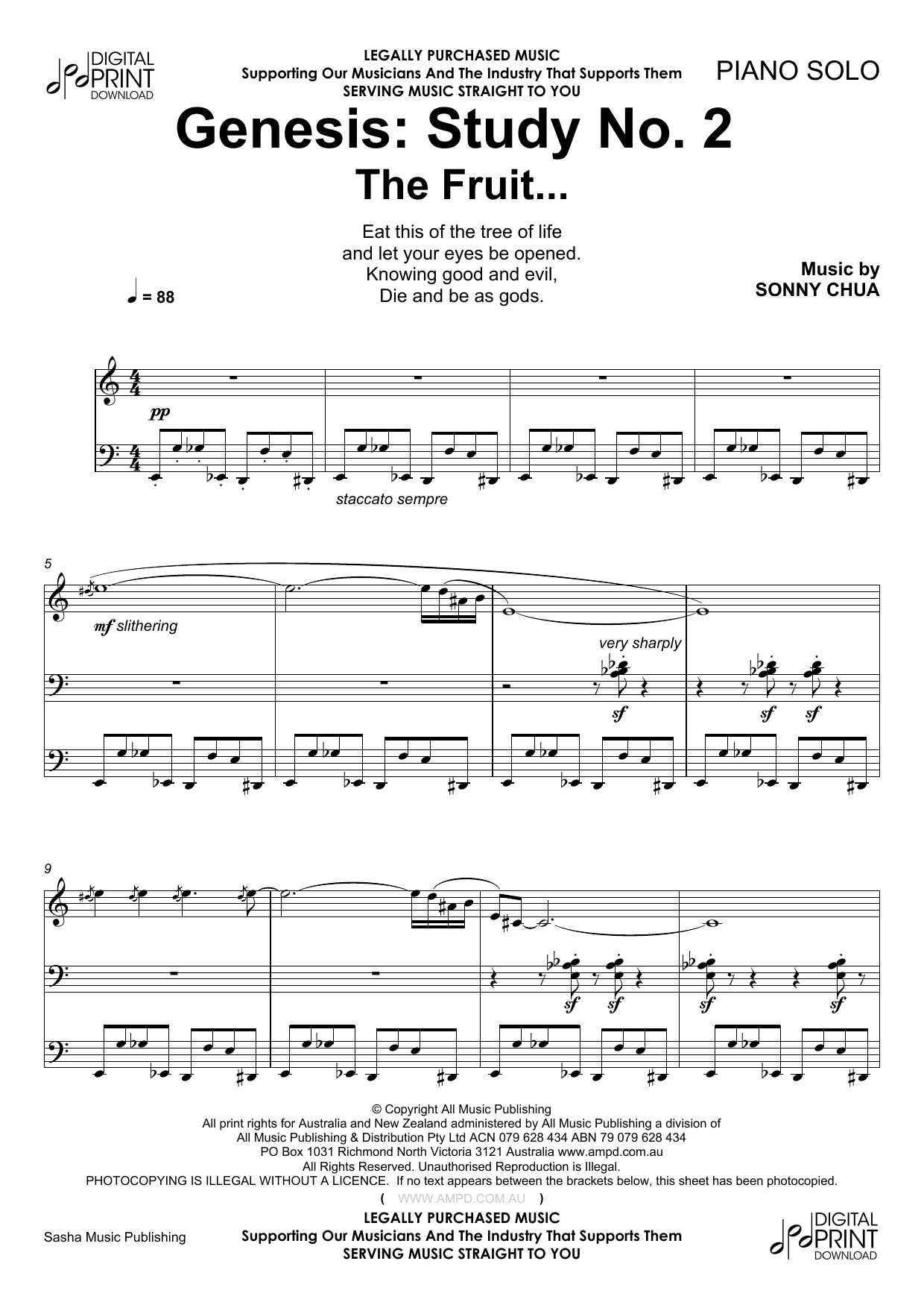 Sonny Chua Genesis Study No 2 The Fruit sheet music notes and chords