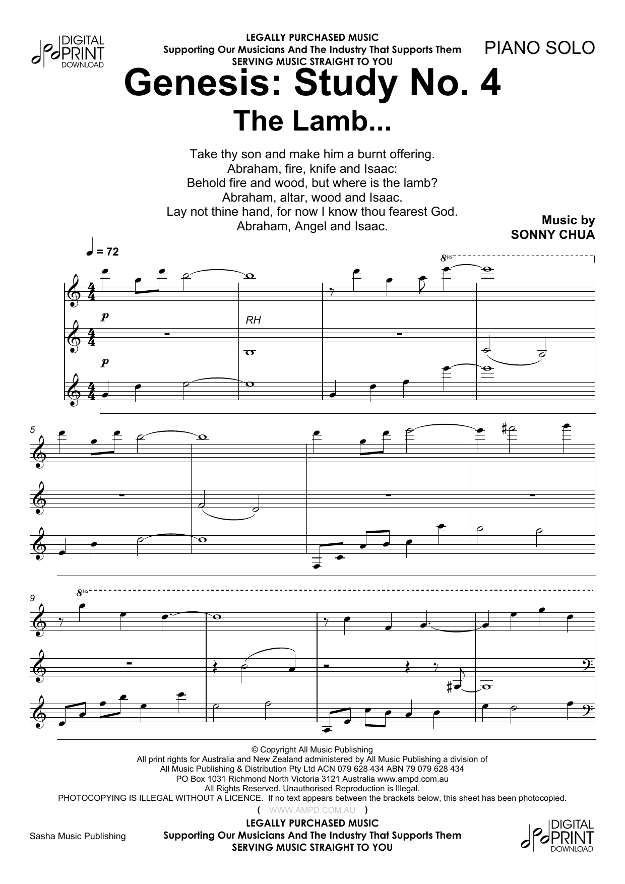 Sonny Chua Genesis Study No 4 The Lamb sheet music notes and chords