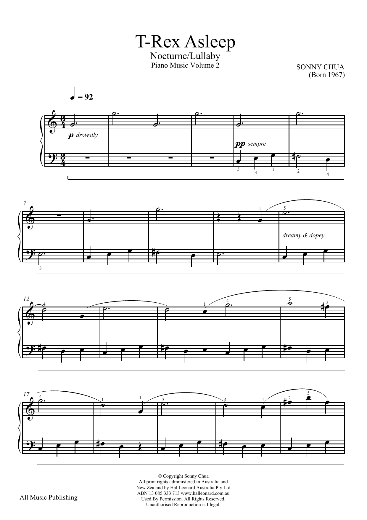 Sonny Chua T-Rex Asleep (From Piano Music Vol 2) sheet music notes and chords. Download Printable PDF.