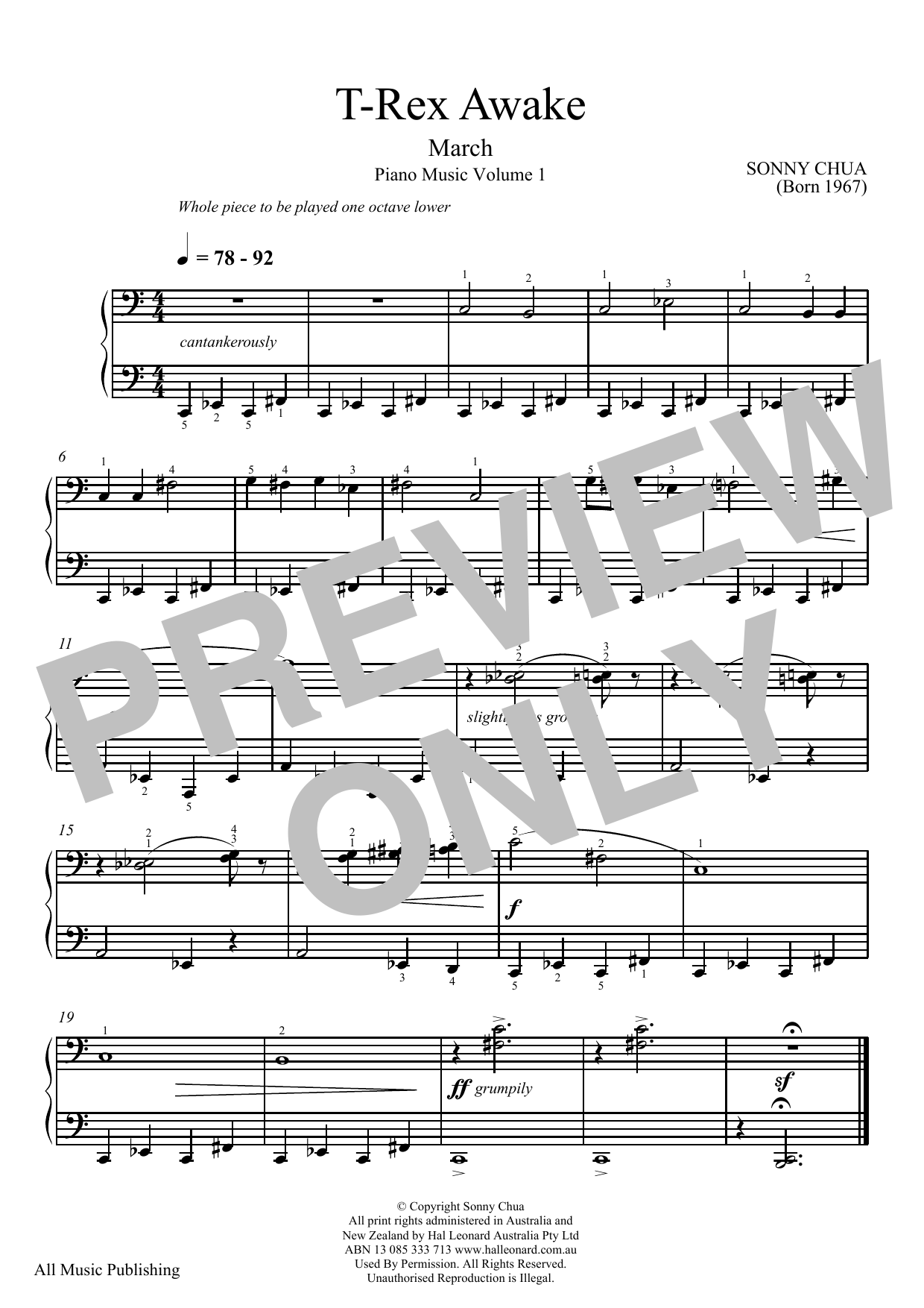 Sonny Chua T-Rex Awake (From Piano Music Vol 1) sheet music notes and chords