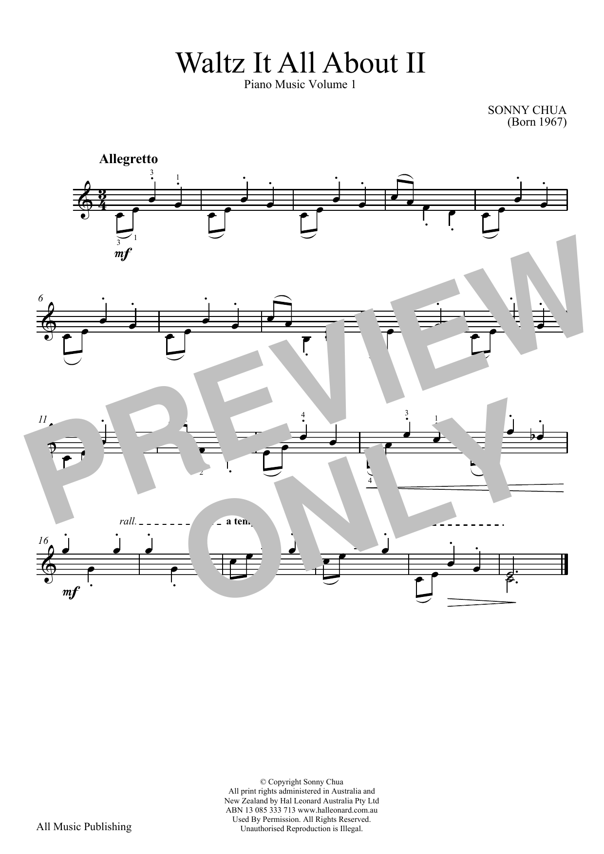 Sonny Chua Waltz It All About II (From Piano Music Vol 1) sheet music notes and chords